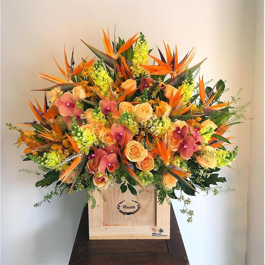 hoa sinh nhật hộp gỗ quận 1